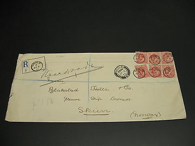 UK 1911 Goole registered cover to Norway faults *22389