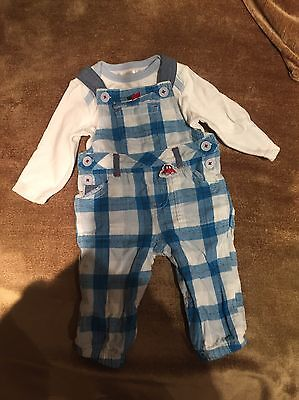 Baby Boy M&Co Blue & White Dungarees Set 3-6 Months