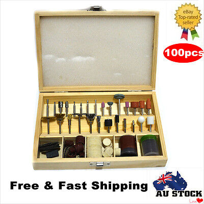 100pcs Dremel RotaryTool Accessories Kit Bit Set Mini Drill Grinder W/Wooden Box