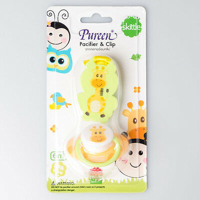 Pureen Orthodontic Dummy Pacifier Soother & Clip 6 months+ Freeflow - Giraffe