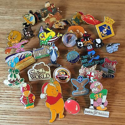 28 Vintage Pin Badges Collection Joblot