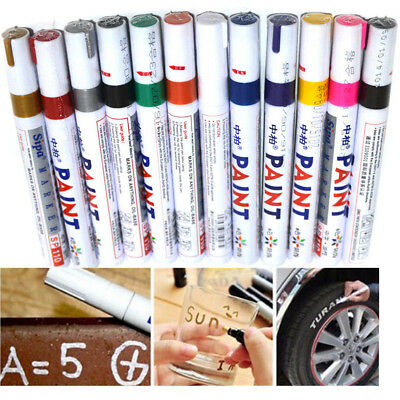12pcs Multicolored Waterproof Rubber Permanent Paint Marker Pen Car Tyre Tread