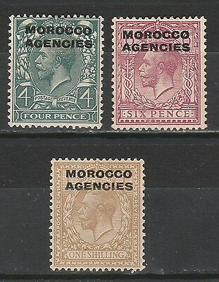 Morocco Agencies 1914 Kgv 4D 6D And 1/- Wmk Simple Cypher