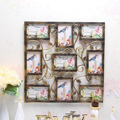 Wall Hanging Bronze Floral Vine Collage Photo Frames Picture Display Decor Gift