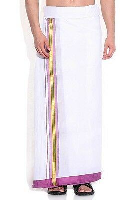 Wedding and Festival Cotton Off-white Dhoti South Indian Plain Traditional .