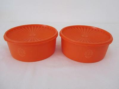 Vintage Collectable TUPPERWARE Retro Orange CANISTERS Pantry Storage Containers