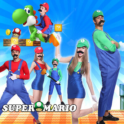 Mens Boys Womens Super Mario and Luigi Bros Fancy Dress Costume Plumber