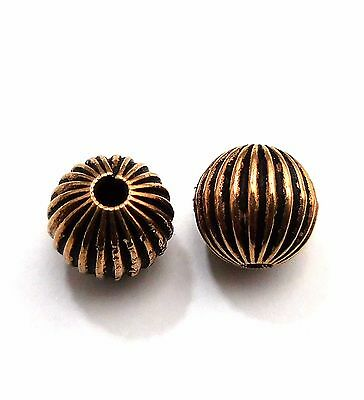 25 Pcs Metal Bead 10Mm Oxidized Copper Plated  Beads   #b539