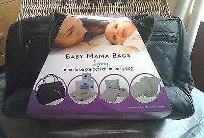 Luxury mum to be pre-packed maternity bag by Baby Mama Bags - black