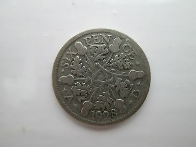 1928 George V Silver Sixpence Coin