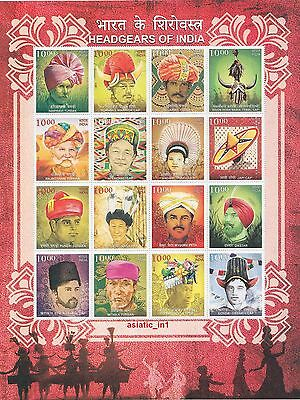 2017 Headgears of India Miniature of 16 Stamps
