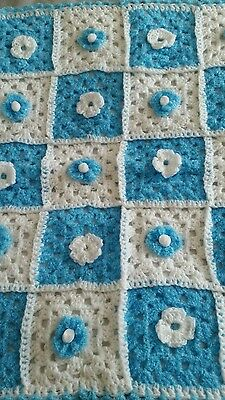 Baby  pram/moses basket top blanket in light blue and white
