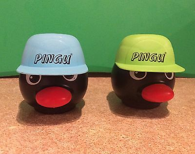 2 Two Retro Pingu Head Sweets Container 1 Blue Hat & 1 Green Hat
