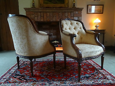 Stunning Pair Of Mahogany Cream Upholstered Regency Bergere Library Armchairs