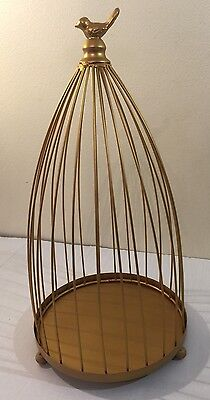 Decorative Birdcage Gold Color Steel Wire With Metal Gold Color Bird On The Top