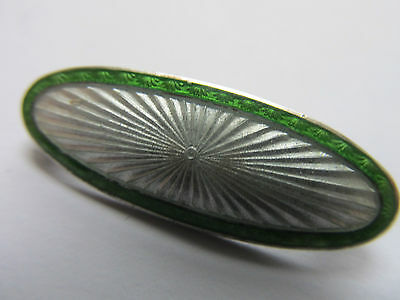 VINTAGE SILVER and GREEN ENAMEL BROOCH dated 1934 BIRMINGHAM, OVAL PERFECT