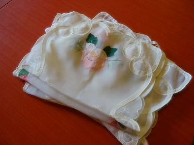 5 Vtg/Antique Organza? Linen Sheer PLACEMATS Fine different ROSES Appliques MINT