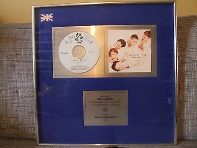 Framed and signed presentation disc Take That's Everything Changes 41cm x 41cm