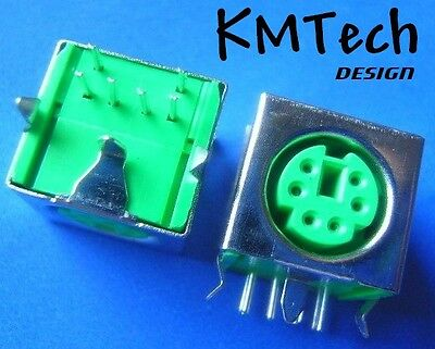 6 Pin Mini Din Socket PS/2 Female Plug Connector Mouse pcb mount pack of 2