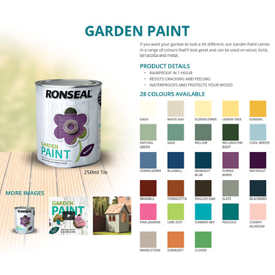 RONSEAL GARDEN PAINT for Wood Metal Brick Stone Terracotta Shed Fence 2.5 LITRE