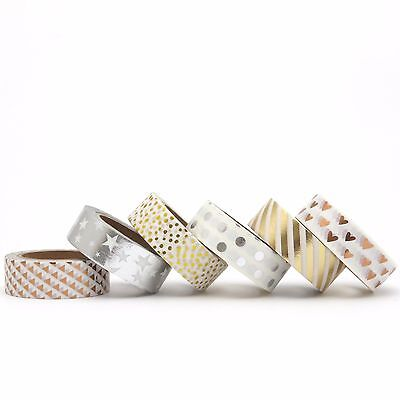 Washi Tape Set Silver Foil Rose Gold Copper Hearts Stars Polka Dots 6 x 10m