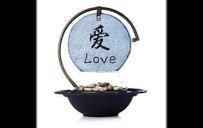 Stone Effect Engraved Circle Love water Fountain - main operated