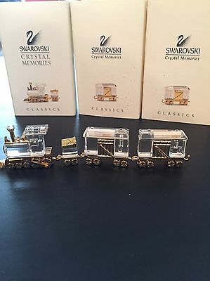 Swarovski Crystal Memories Train Set And Two Carriages With Original Boxes