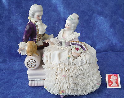 Lovely Vintage Muller & Co. MZ Dresden Lace Group of Couple and Dog