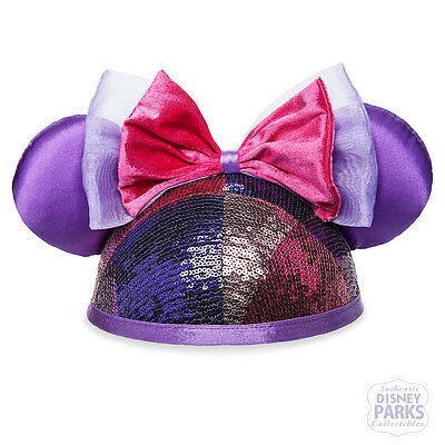 Disney Parks Minnie Mouse Sequined Ear Hat for Adults Ears Pink & Purple