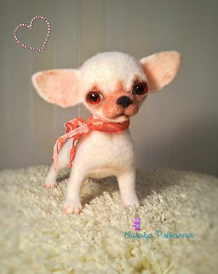 ��OOAK Needle felted  chihuahua dog/puppy 6*6in sculpture collection��