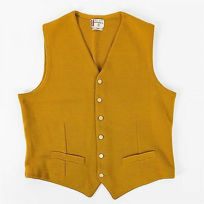 Vtg Bullock's Waistcoat Vest Men's Medium 100% Wool Mustard Yellow Austrian