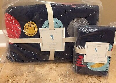 NEW 2PC Pottery Barn Kids Eric Space TWIN Quilt + STANDARD Sham