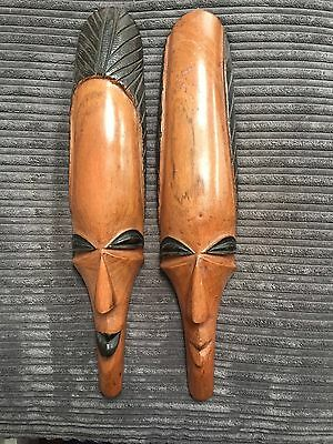 Authentic Pair Of Lovely Wooden African Masks