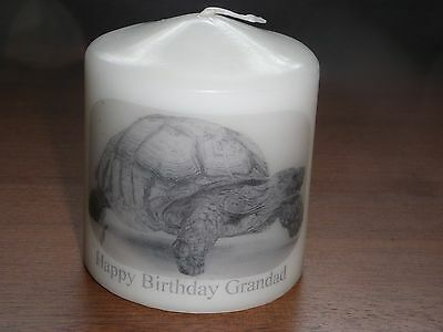 Candle Picture Tortoise Can be Personalised Gift Birthday Friends Mum Love New