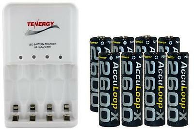 4 Bay AA / AAA LED Smart Charger + 8-Pack AA Acculoop-X 2600 mAh NiMH Batteries