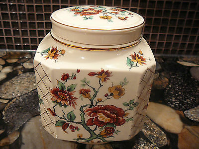 ANTIQUE FLORAL SADLER  Porcelain TEA CADDY Urn GINGER JAR Tobacco JAR