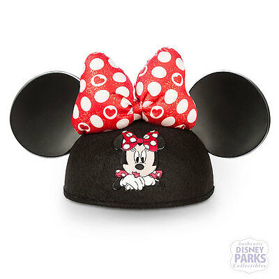 Disney Parks Minnie Mouse Valentine's Day Ear Hat Red Polka Dot Bow
