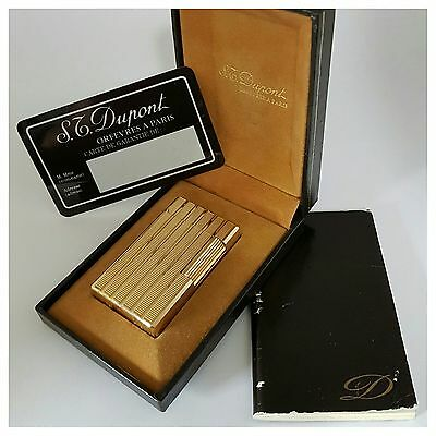 Briquet gaz * St Dupont Paris+box * Gold.Pl -Vintage Lighter-Feuerzeug-Accendino