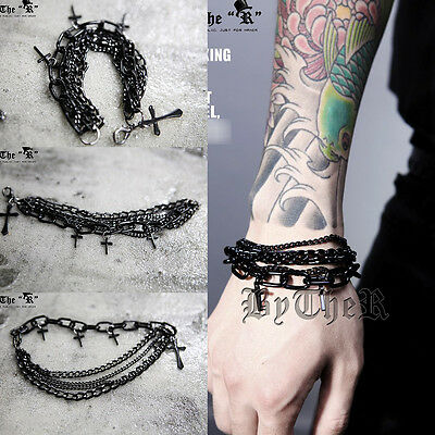 ByTheR Men's Gothic Punk Fashion Black Metal Cross Layered Chain Bracelet UK N
