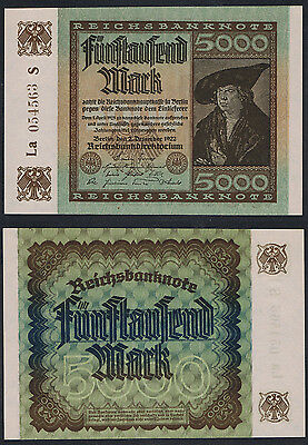 5,000 Marks German Note Issued 2 December 1922 - AUNC/UNC Pick 81
