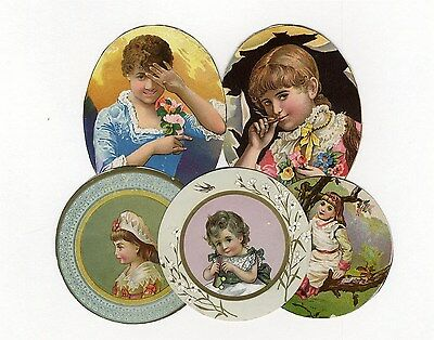 5 VICTORIAN Circle and Ovals of Women and Children 1880's