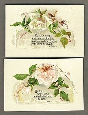 2 ROSES and BIBLE VERSE Victorian Cards published by Bufford 1880's