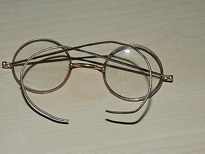 Small Vintage Gold Spectacles with Metal Rims