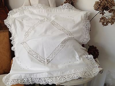 Romantic pair of Antique Pillow Shams Hand-Made 100% Cotton Hypoallergenic