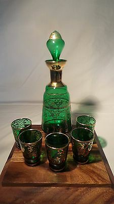 Vintage Murano Green/gold Decanter 5  Shot Glasses