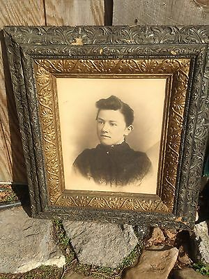 Antique Charcoal Portrait of Creepy woman Wooden Frame Perfect for Haunted House