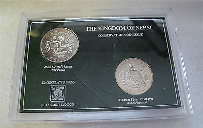 1974 Nepal silver Monal pheasant red panda conservation 2 coin set 25-50 Rupee
