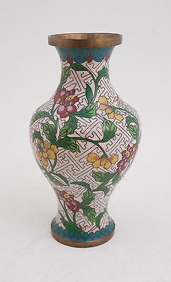 """Small Cloisonne Vase 6.5"""" Marked China (D2L) Flowers on White Background"""