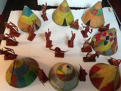 Crescent / Kellog's Toys C1958 Red Indian Warriors / Home Made Wigwams