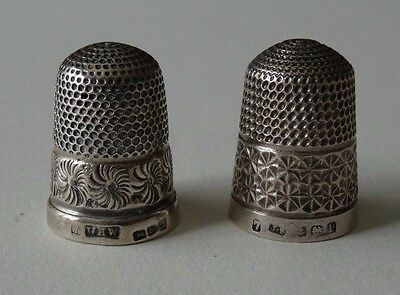 2 Antique English Sterling Thimbles James Swann & WHW Wm Weston? Chester